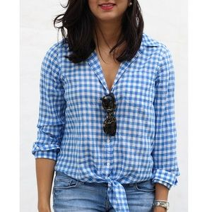 J. Crew Gingham Tie Front Boy Shirt. NWT. Size 8.